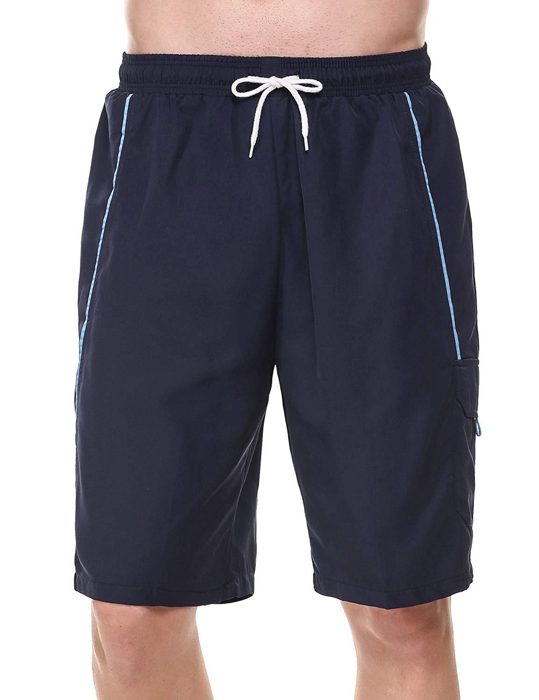 JINIDU Men's Solid Swim Trunks with Pocket Quick Dry Beach Shorts Basic Watershorts