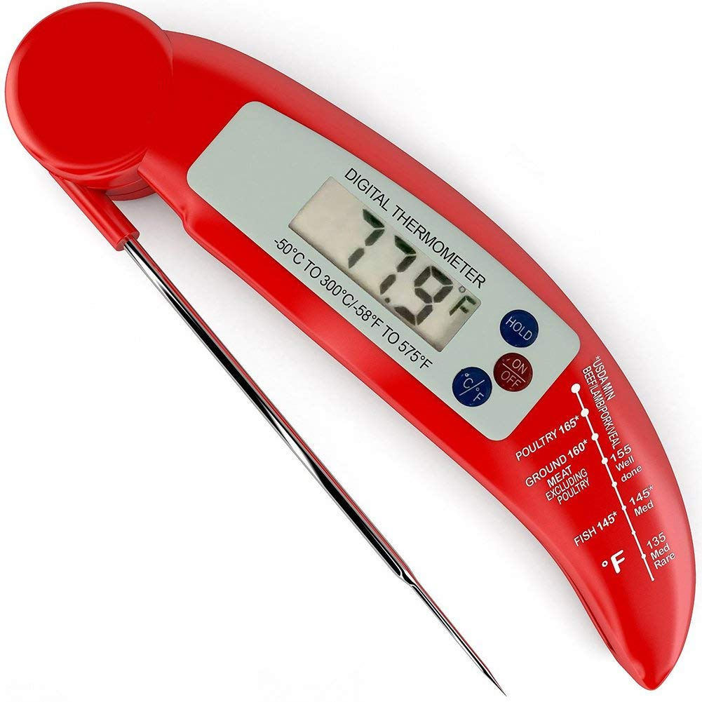 Digital Food Meat Thermometer,Instant Read Cooking Food Thermometer Digital Touch-Screen Thermometer Cooking Thermometer BBQ Thermometer (Red)