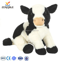 Lovely black and white plush toy cow customized soft stuffed animal cow