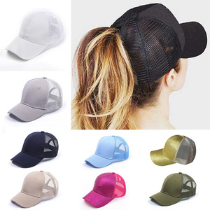 Solid Color Glitter Ponytail Baseball Cap Women Messy Bun Baseball Cap Girls Snapback Caps Summer Sports Mesh Hats