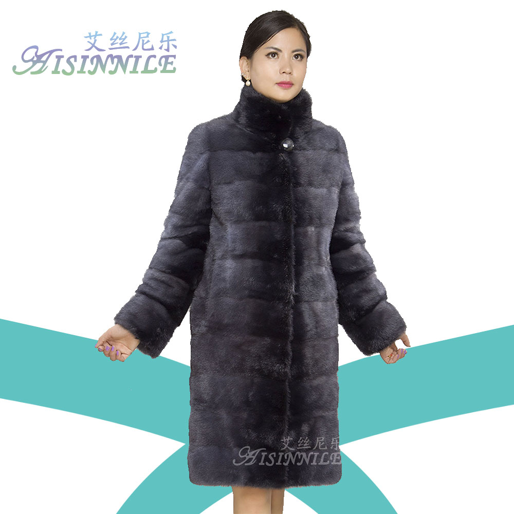 Classic Genuine Natural Mink Fur Jacket for Women Walking Coat