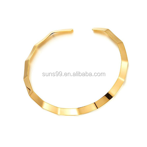 New Design Minimalist Stainless Steel Gold Color Curl Wave Neck Cuff Metal Choker Necklace Collar Necklace