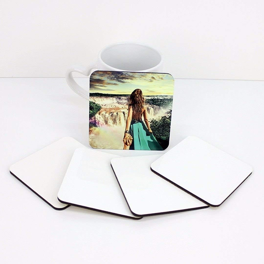 RETERMIT 10 pcs Sublimation Blank DIY Customized MDF Square Coaster Hardboard Coaster Sublimation Coaster Blank Coaster