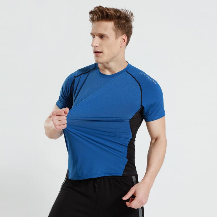2019 Nylon Fabric Color Block Workout Shirt Air Hole Running Wear Men фото