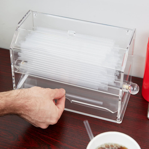 Clear Automatic Acrylic Drinks Straw Dispenser Box