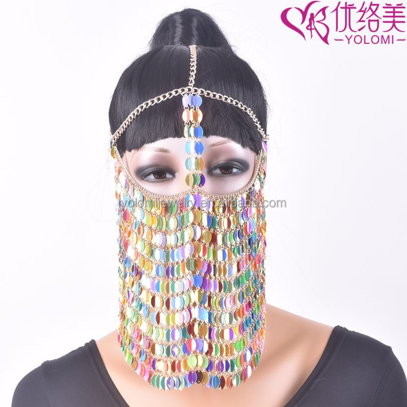 Face Mask Chains Jewelry Harness Colourful Face Chains Indian Head Chain Jewelry FMC0911R