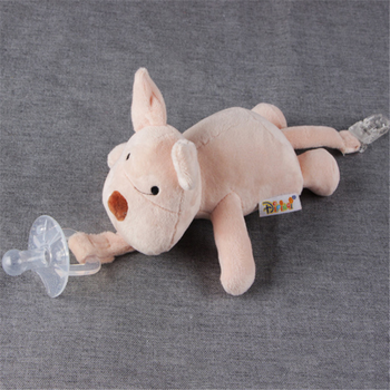 Free sample wholesale baby pacifiers plush animal toy with pacifier
