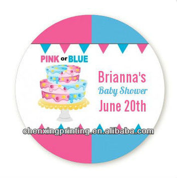 gender reveal cake round personalized baby shower sticker labels
