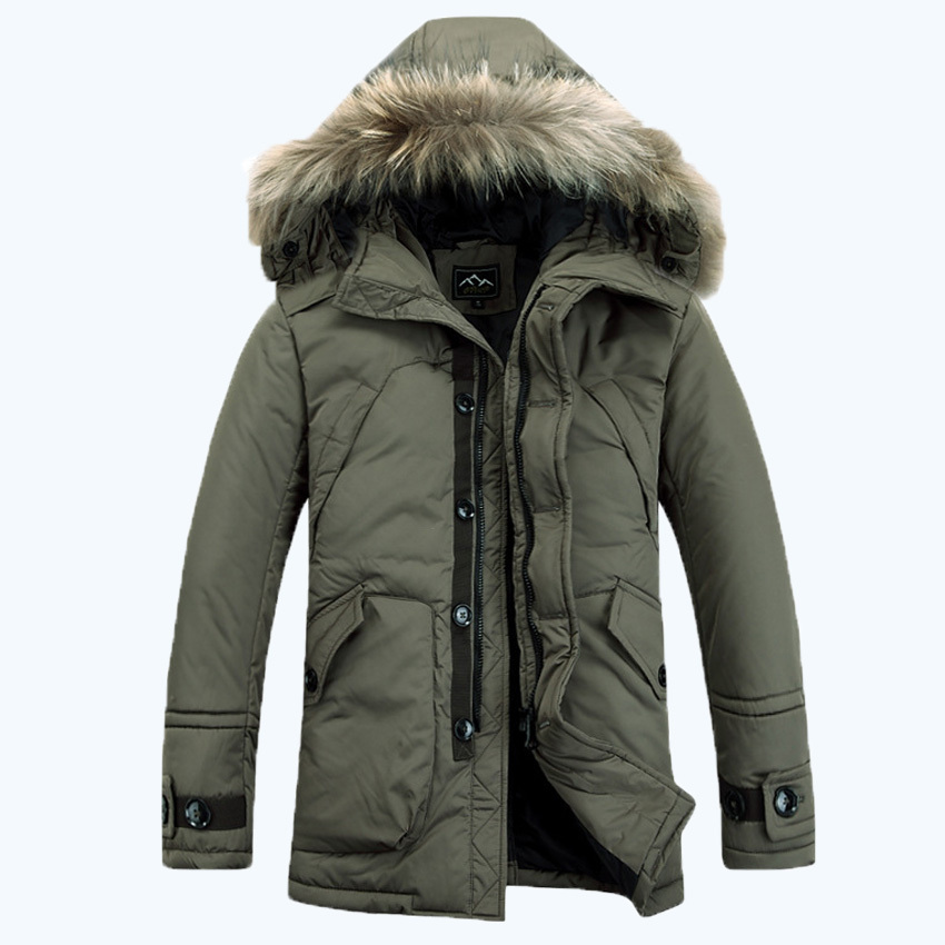 ARTFFEL Mens Winter Thickened Warm Loose Faux Fur Hooded Down Coat Jacket Outerwear