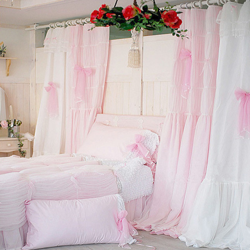 Quality Pink White Princess Lace Curtain For Living Room