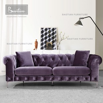2017 New Design Purple Velvet Chesterfield Sofa Victorian Furniture