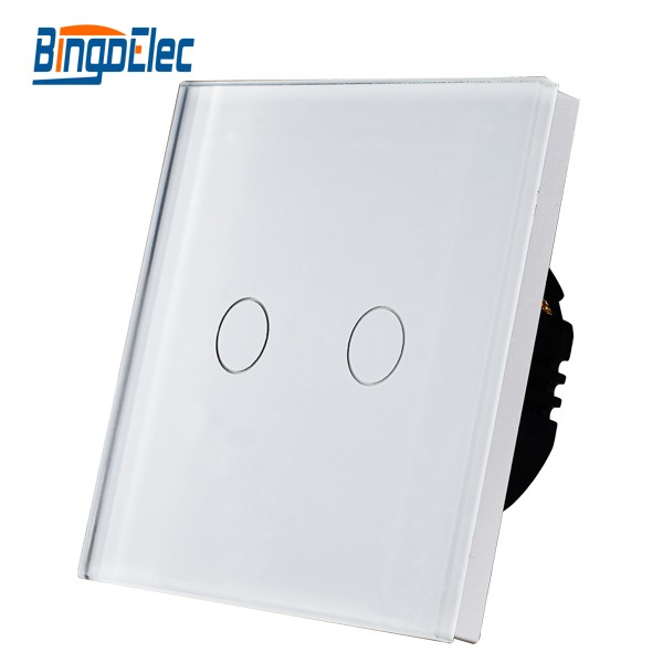 2 gang smart home light switch with glass panel