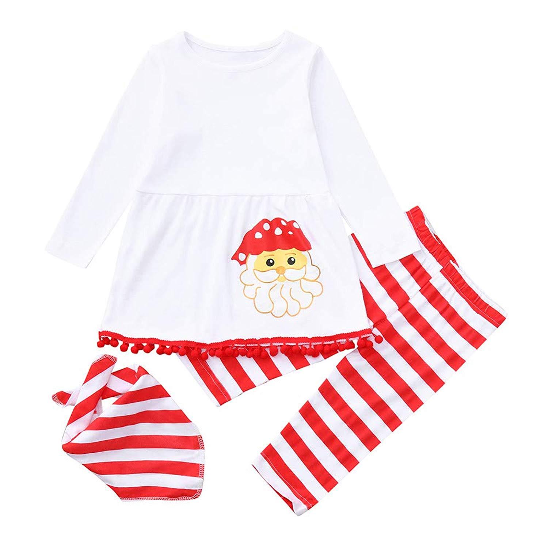 b89484039 Get Quotations · 1-4t Toddler Baby Girls Christmas Dresses Xmas Santa Fur  Ball Tassel Print Dress Tops