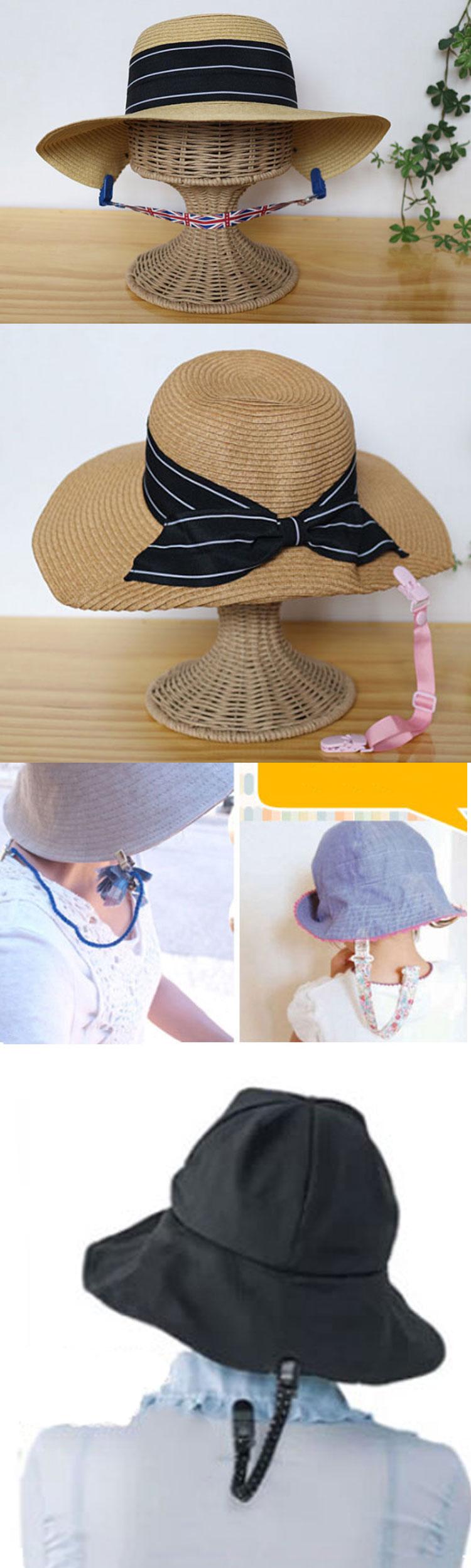 Anti-lost windproof plastic adjustable clip hat holder cap retainer for kids