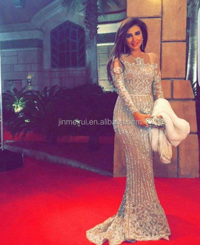 d0bdab0cf19 High Quality Luxury Beaded Crystals Bling Bling Long Sleeves Evening Dresses  Nude Prom Evening Gown