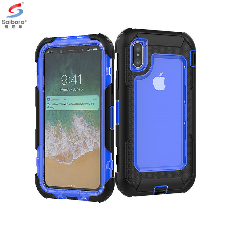 Saiboro Destacável Anti-choque de 360 Graus Completo Capa Heavy Duty Case Capa Do Telefone Para O Iphone x Clipe de Cinto Coldre caso