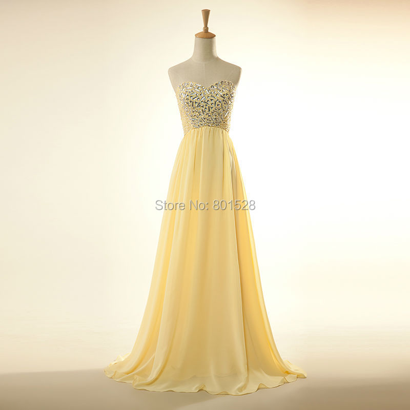 Elegant Strapless Beaded Cheap Yellow Chiffon Prom Dresses Long 2015 New Formal Evening Party Dress Gown Fashion Custom