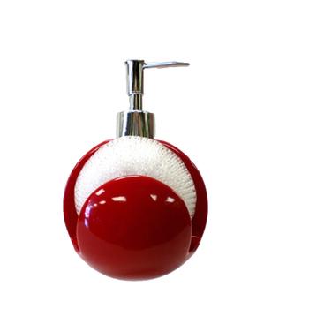 Red Ceramic Kitchen Soap Pump Lotion Sink Dispenser Sponge Scrubby Holder