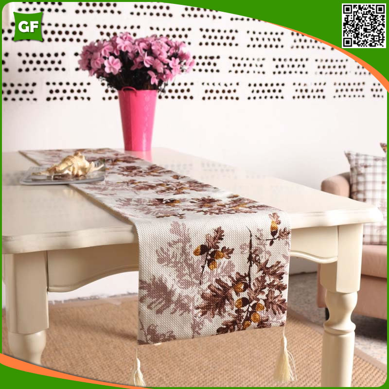 Fashion Three-dimensional Digital Print Pastoral Flat Angle Dining Table Runner Modern Floral Home Decorative Party Table Runner