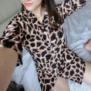 Chiffon breathable printed leopard black Sleep Shirt women pajamas