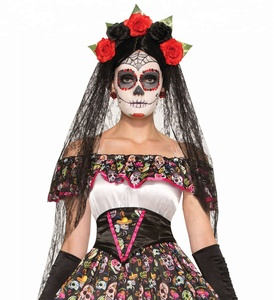 Day Of The Dead Senorita Mexican Skull Women Costume Costume Black Veil Headband SA2388