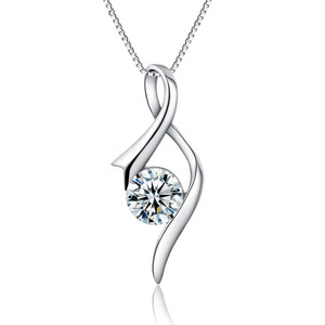 Italian Vintage Silver Fashion 925 Sterling Silver Jewely Zircon Gemstone Pendant