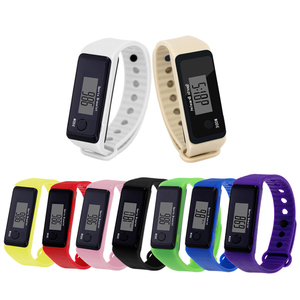 under one dollar pedometer for promotion and christmas gift silicone wristwatch with plastic box packing