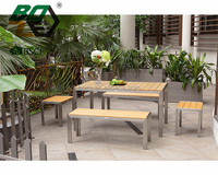 BOZE hot sale poly wood table and chair with stainless steel frame for outdoor furniture
