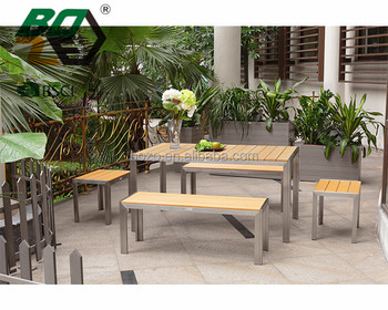 Boze Hot Sale Poly Wood Table And Chair With Stainless Steel Frame