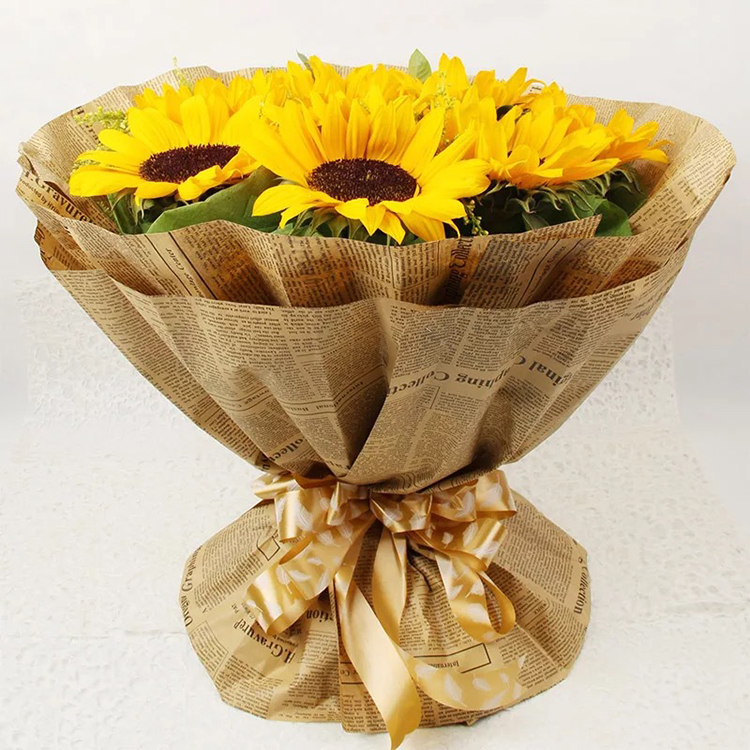 Classical waterproof English newspaper kraft tissue paper gift packaging Brown flower wrapping paper