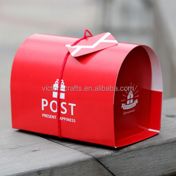 Newest design promotion gift custom logo print Red Post Box Paper Box paper bento box