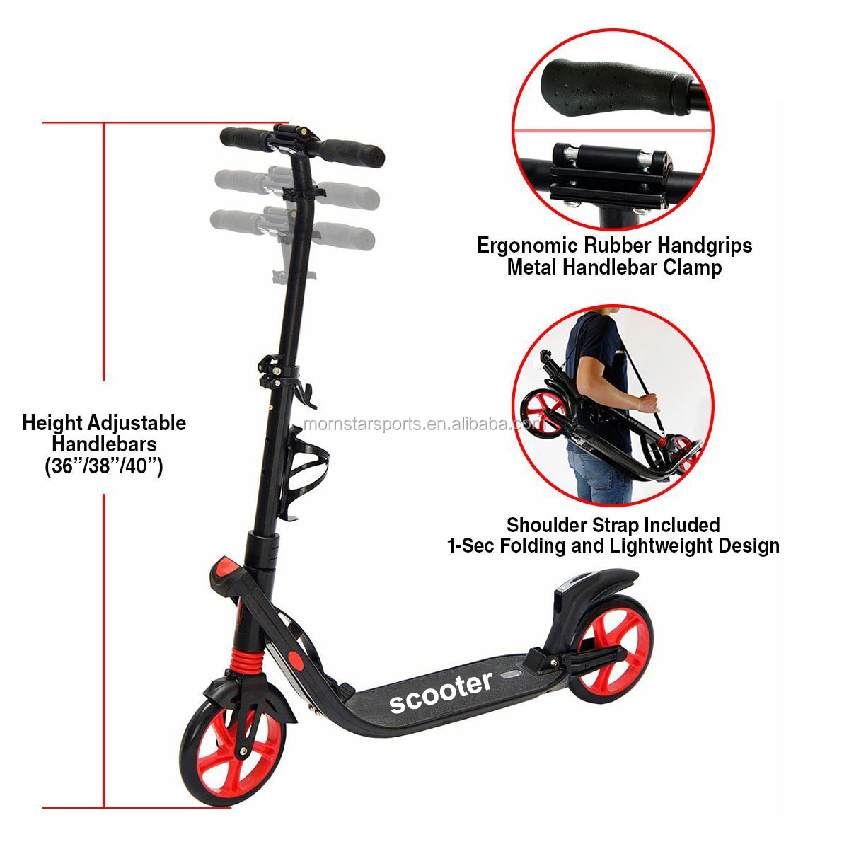 200MM wheels Push Kick Scooter for Adult