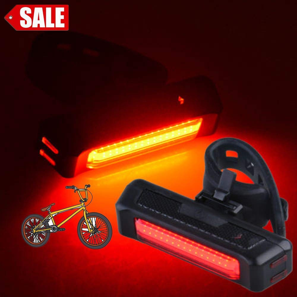 Glumes Front/Rear Bike Light USB Rechargeable|Ultra Bright Powerful Safety Taillight|High Intensity Rear COB LED Accessories|6 Light Mode Options|Waterproof|for all Bikes/Helmets (Red)