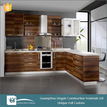 2015 New Popular Hpl Kitchen Cabinet With Wood Grain Color And
