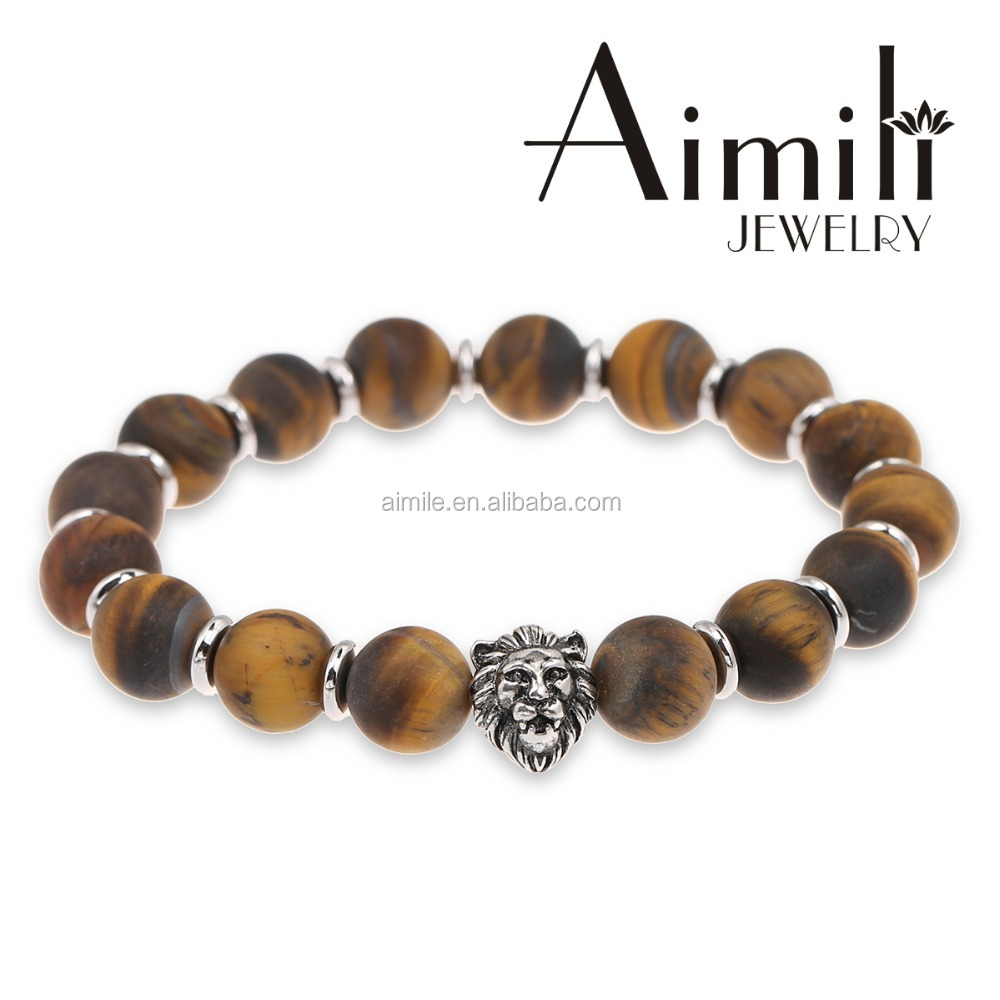 L40 Newest Silver Lion Bracelet #Lion Bracelets #10mm Matte Brown Tiger Eye Beads