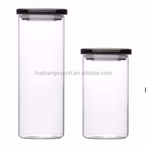 Tall Crystal clear Heat resistant Glass Jars with stainless steel lids for food
