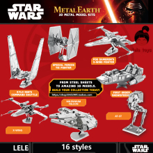 3D puzzle for adult 2015 New Star Wars 3D Nano metal Puzzle DIY juguetes educativos brinquedos para as crian