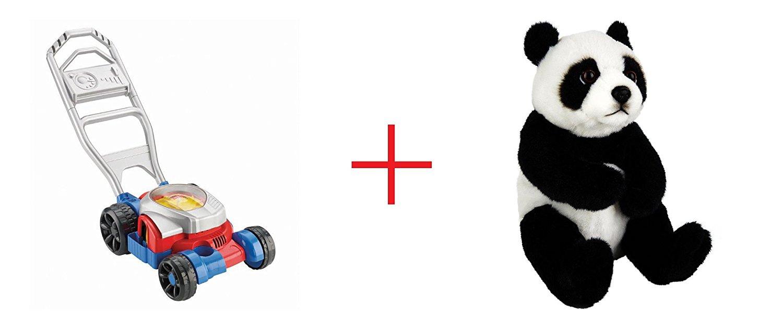 Fisher-Price Bubble Mower and Toys R Us Plush 7.5 inch Panda Bear - Black/White - Bundle