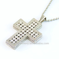 Mens Stainless Steel White CZ Stones Cross Pendant Chain