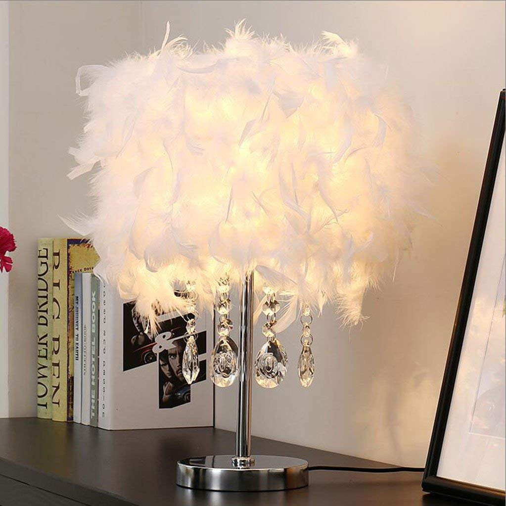 Le fu yan Feather Table Lamp Bedroom Bedside Lamp Modern Minimalist Wedding Room Decorative Lights Button Crystal Table Lamp (Color : White, Material : White lamp body)