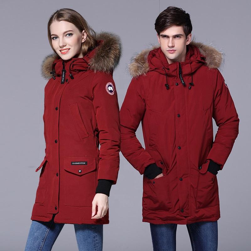 Unisex winter ladies down jacket russia style raccoon fur collar warm long overcoat windbreak men parka coat, As photo or customized