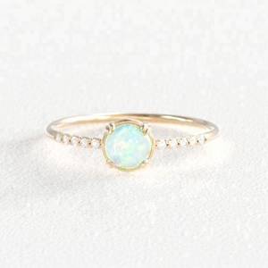 Gold Plated Dainty Jewelry 925 Sterling Silver Zircon Diamond Round Shaped White Opal Engagement Rings