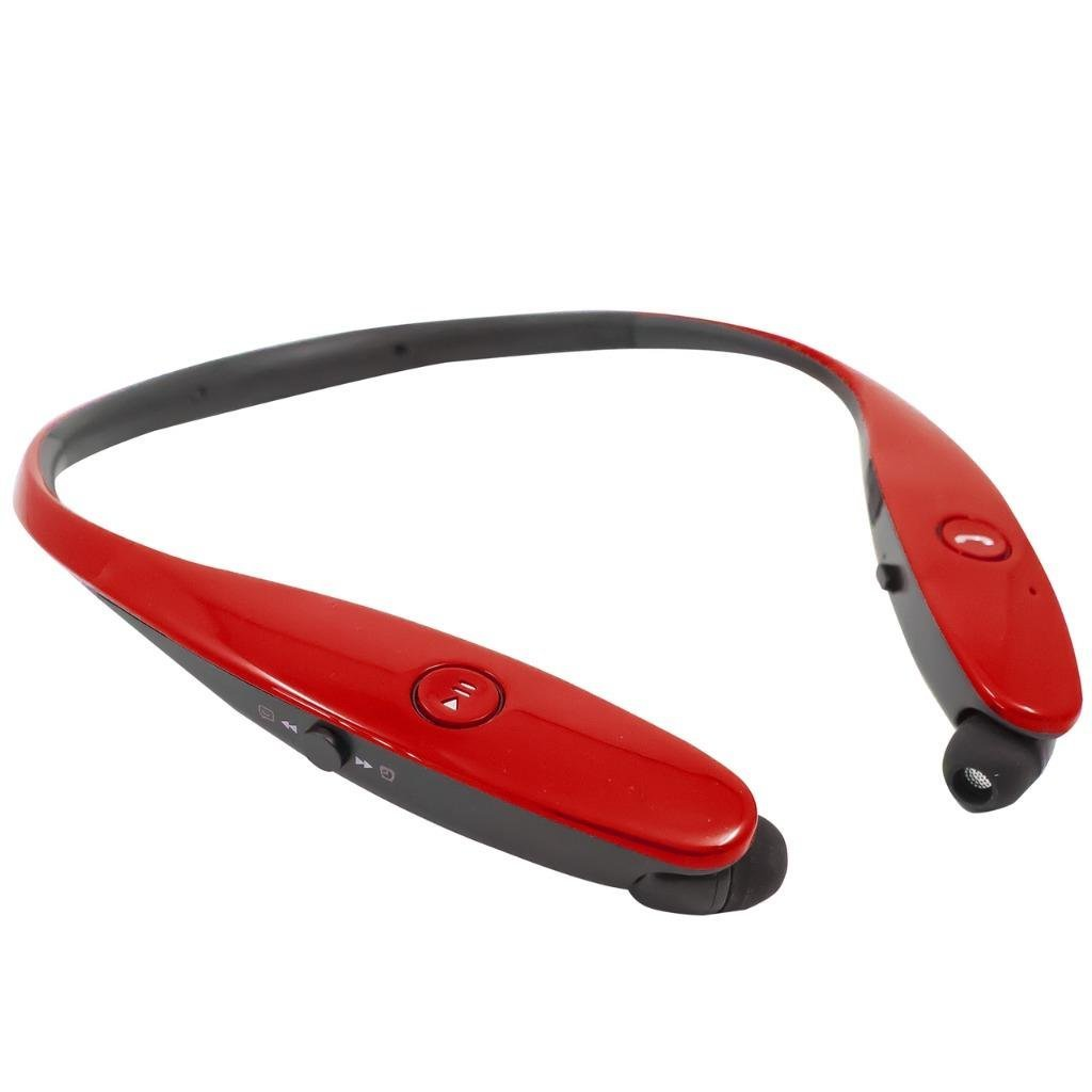 Retractable Stereo Wireless Bluetooth Headset/ Headphones for LG V30/ V30+/ G6/ G6+/ G5/ G4/ G3/ G2/ V20/ V10/ Stylo 3/ K20V/ X Charge/ Q6/ Aristo/ Q8/ Stylo 3 Plus (Red)