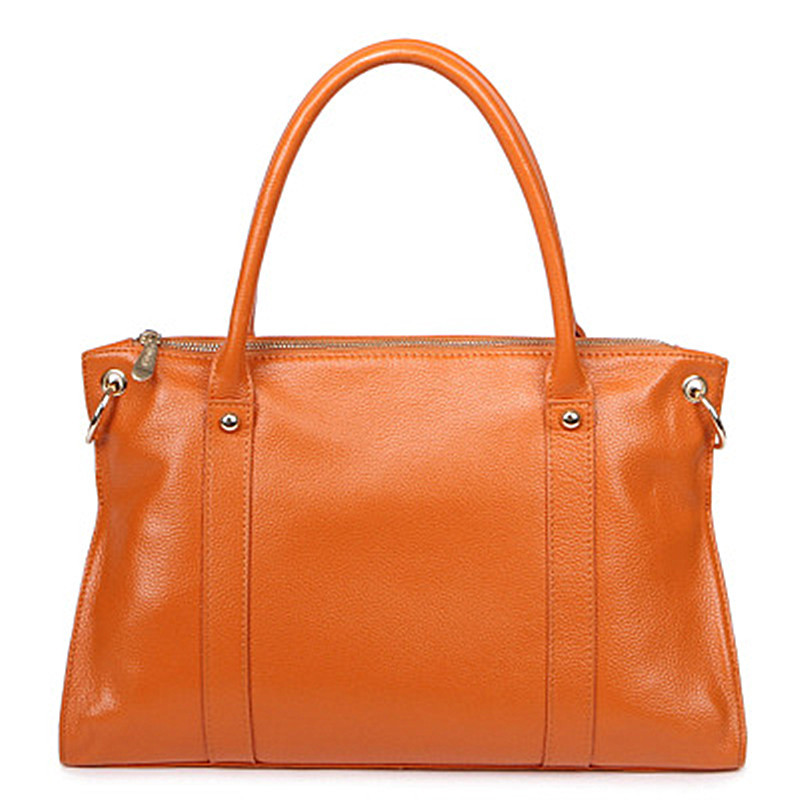 H-Q brand fashion Genuine Leather large designer handbags,Simple Brown ladies bags solid Level cowhide shoulder Totes for women