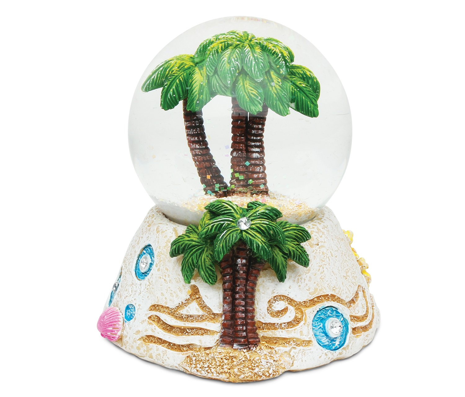 Puzzled Palm Tree Resin Stone Finish Snow Globe - Beach Collection - 65 MM - Unique Elegant Gift and Souvenir - Item #9364