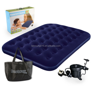 bestway flocked double airbed inflatable air bed mattress electric pump and bag - Air Bed Mattress