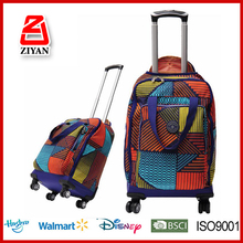 New Design Black Polyester Waterproof Travel Backpack Bag Trolley Luggage