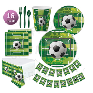 Hot Sale World Cup Boy Sports Theme Party Pack Set Soccer Party Supplies Green Football Paper Disposable Tableware