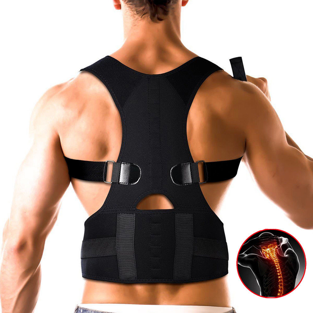 Drop Shipping Wholesale Private Label Neoprene Adjustable Magnetic Therapy Shoulder Back Support Belt Posture Corrector Brace, Black;white and nude