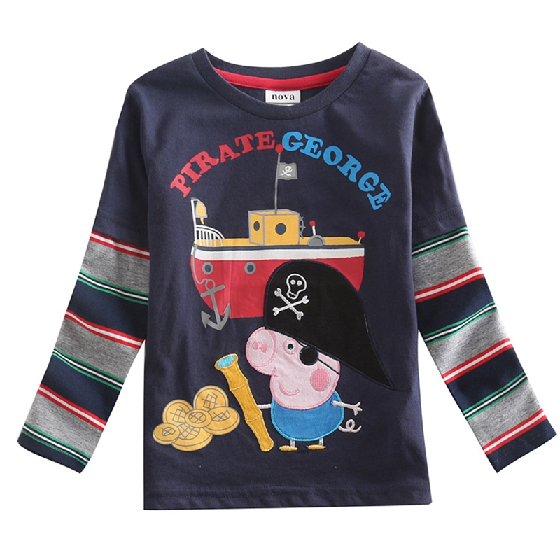 boys clothes boys t shirts novelty nova kids clothing embroidery cartoon pig long sleeve children t